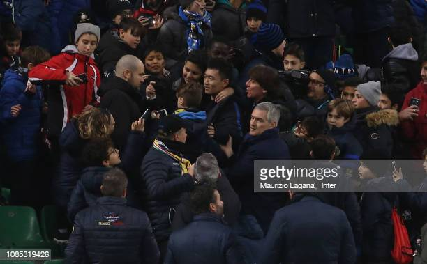 President of Inter Steven Zhang poses for photos with fans during the Serie A match between FC Internazionale and US Sassuolo at Stadio Giuseppe...