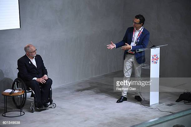 President of International Paralympic Committee Sir Philip Craven and Chief Executive of Channel 4 David Abraham at the British House in the Rio 2016...