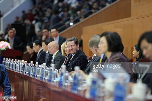 President of International Skating Union Ottavio Cinquanta attends the opening ceremony of 2015 Shanghai World Figure Skating Championships at...