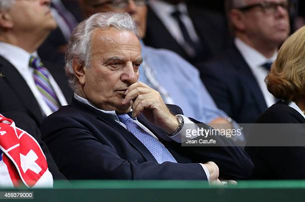 President of International Tennis Federation Francesco Ricci Bitti attends day one of the Davis Cup tennis final between France and Switzerland at...