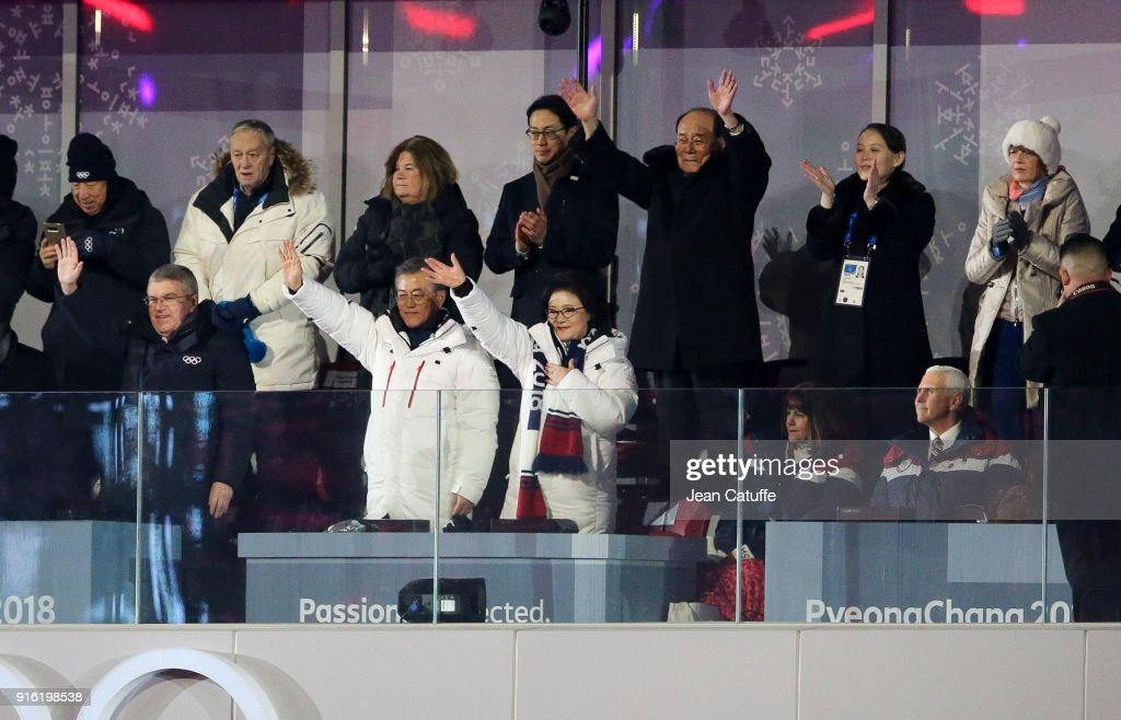 President of IOC Thomas Bach, President of South Korea Moon Jae-in, his wife Kim Jung-sook, above them President of North Korea Kim Yong-nam and Kim Yo-jong, sister of President of North Korea Kim Jong-un salute the athletes of both South and North Korea while Mike Pence, Vice-President of USA and his wife Karen Pence (bottom right) look on during the Opening Ceremony of the PyeongChang 2018 Winter Olympic Games at PyeongChang Olympic Stadium on February 9, 2018 in Pyeongchang-gun, South Korea.