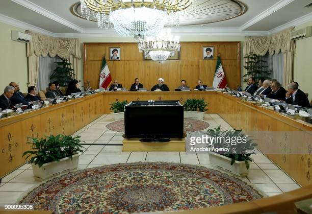 President of Iran Hassan Rouhani addresses during the cabinet meeting in Tehran Iran on December 31 2017