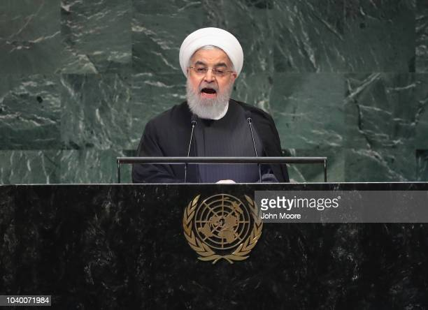President of Iran Hassan Rouhani addresses the United Nations General Assembly on September 25 2018 in New York City World leaders gathered for the...