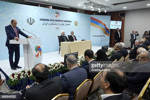 President of Iran Hassan Rouhani and President of Armenia Serzh Sargsyan attend the ArmeniaIran business forum at Radisson Blu Hotel in Yerevan...