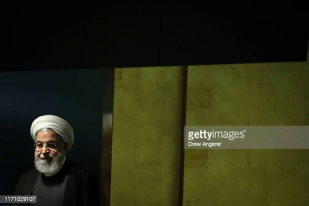 President of Iran Hassan Rouhani arrives to address the United Nations General Assembly at UN headquarters on September 25 2019 in New York City...