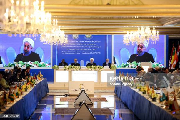 President of Iran Hassan Rouhani attends the 13th Parliamentary Union of the OIC Member States Conference in Tehran Iran on January 16 2018