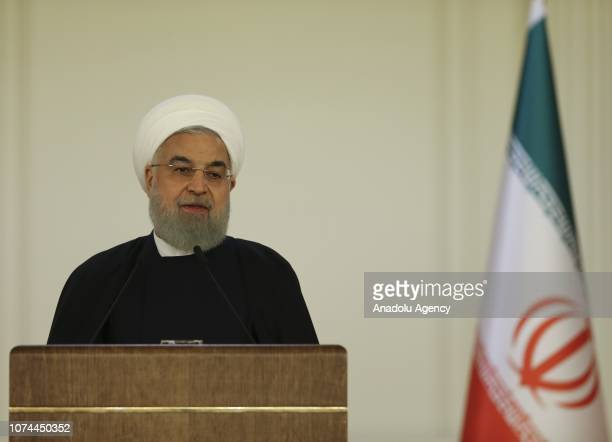 President of Iran, Hassan Rouhani delivers a speech during Turkey-Iran Business Forum at Cankaya Palace in Ankara, Turkey on December 20, 2018.