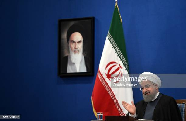 President of Iran Hassan Rouhani gestures during a press conference ahead of the Iran's Presidential Election in Tehran Iran on April 10 2017