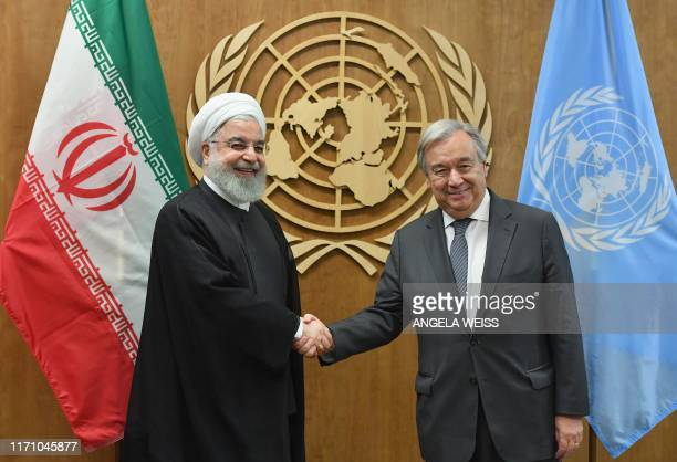 President of Iran Hassan Rouhani meets with United Nations Secretary-General Antonio Guterres at the United Nations in New York on September 25, 2019.