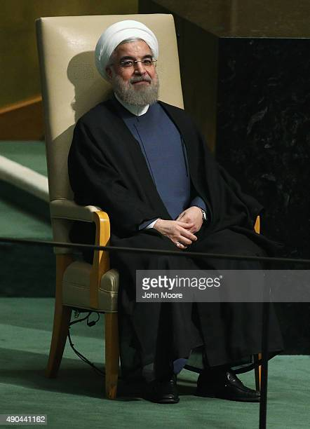 President of Iran Hassan Rouhani prepares to address the United Nations General Assembly on September 28 2015 in New York City World leaders gathered...