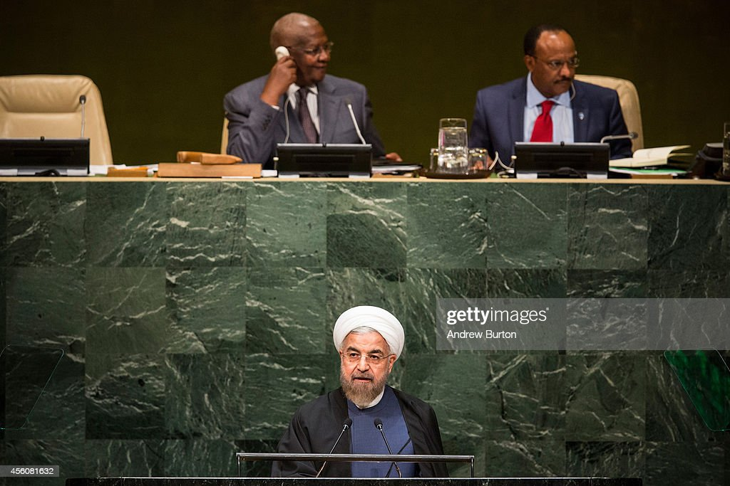 President of Iran Hassan Rouhani speaks at the 69th United Nations General Assembly on September 25, 2014 in New York City. The annual event brings political leaders from around the globe together to report on issues meet and look for solutions.