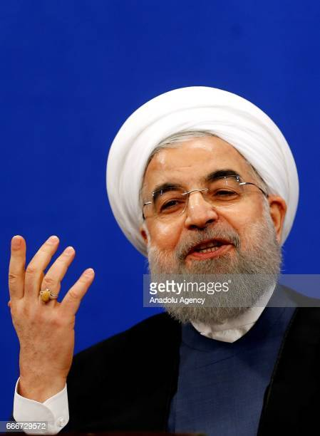 President of Iran Hassan Rouhani speaks during a press conference ahead of the Iran's Presidential Election in Tehran Iran on April 10 2017