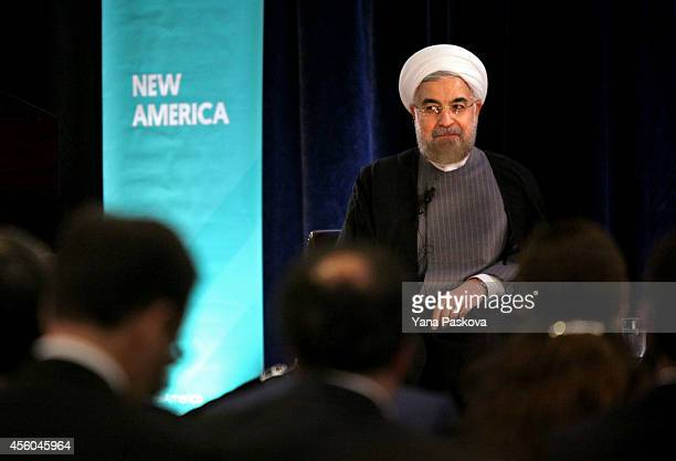 President of Iran Hassan Rouhani speaks with moderator and journalist Fareed Zakaria at the New York Hilton Midtown in New York City on September 24...