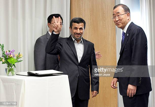 President of Iran Mahmoud Ahmadinejad is greeted by United Nations Secretary General Ban Kimoon before their meeting at United Nations Headquarters...