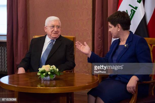 President of Iraq Fuad Masum meet with Prime Minister of Poland Beata Szydlo at Chancellery of the Prime Minister in Warsaw Poland on 7 November 2017