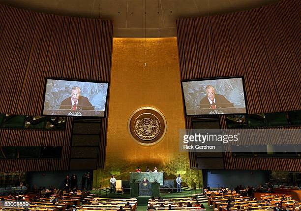 President of Iraq Jalal Talabani speaks at the 63rd annual United Nations General Assembly meeting September 25 2008 at UN headquarters in New York...