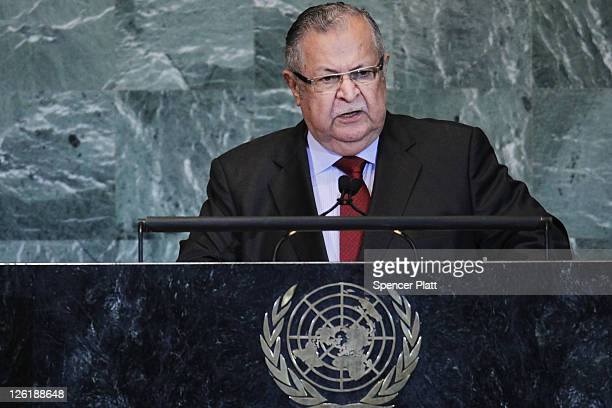 President of Iraq Jalal Talabani speaks during the United Nations General Assembly on September 23 2011 in New York City The annual event which is...