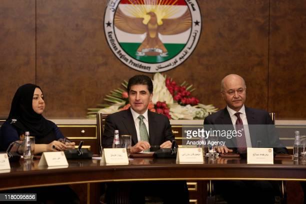 President of Iraqi Kurdish Regional Government , Nechirvan Barzani , President of Iraq Barham Salih and Speaker of the parliament Rewaz Faiaq attend...