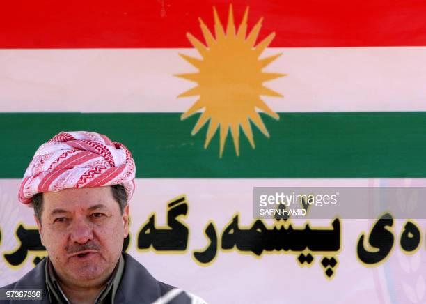President of Iraq's Kurdish region Massud Barzani addresses Peshmerga soldiers during their graduation ceremony in the northern Kurdish city of Arbil...