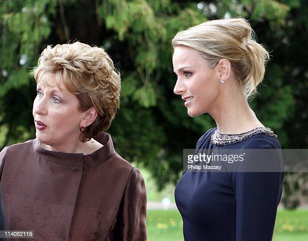 President of Ireland Mary McAleese and Charlene Wittstock attend a reception in Farmleigh House on the second day of the state visit of H.S.H Prince...