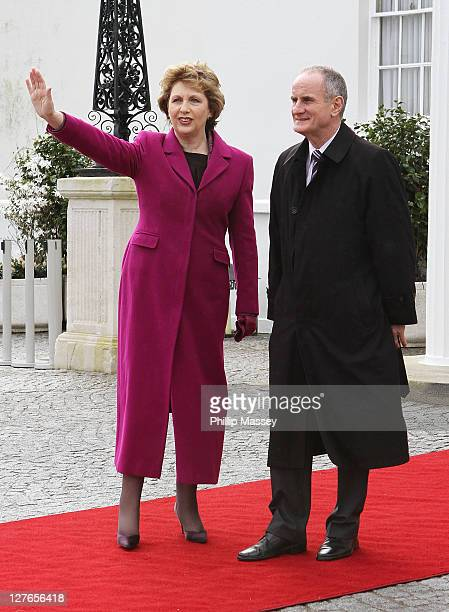 President of Ireland Mary McAleese and Martin McAleese attend Aras an Uachtarain on the first day of the state visit of HSH Prince Albert on April 4...