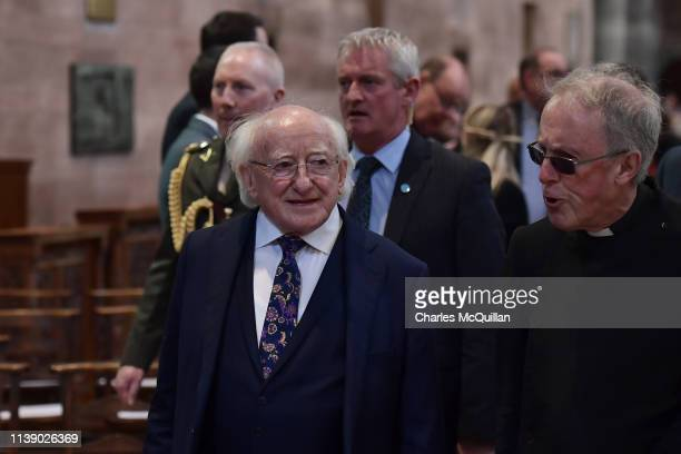 President of Ireland Michael D Higgins attends the funeral service of journalist Lyra McKee at St Anne's Cathedral on April 24 2019 in Belfast...