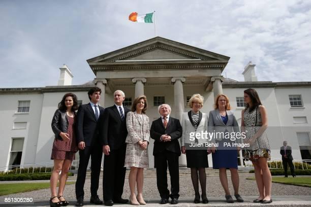President of Ireland Michael D Higgins chats with Caroline Kennedy with Rose John Edwin Schlossberg Sabina Higgins Mary Higgins and Tatiana the...