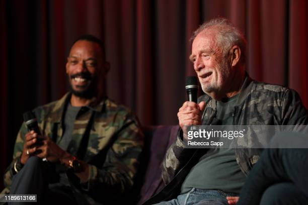 President of Island Records Darcus Beese and Founder of Island Records Chris Blackwell speak onstage at Island Records 60th Anniversary at the GRAMMY...