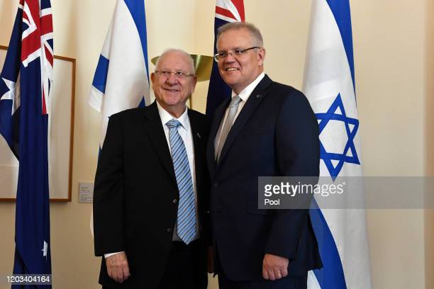 President of Israel Reuven Rivlin and Australian Prime Minister Scott Morrison pose for a photo at Parliament House on February 26, 2020 in Canberra,...
