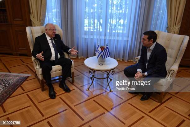 President of israel Reuven Rivlin and Greek Prime Minister Alexis Tsipras during their meeting