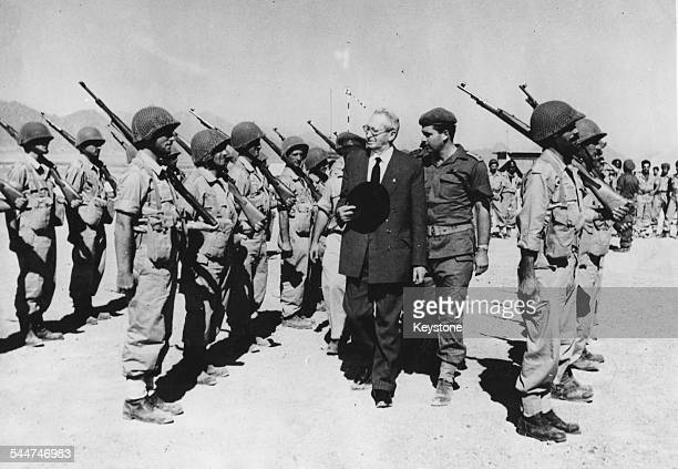 President of Israel Yitzhak BenZvi inspecting the troops during a front line visit at Sharm el Sheikh Egypt November 21st 1956