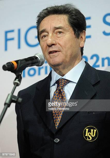 President of ISU the italian Ottavio Cinquanta addresses the crowd during the open ceremony at the the 2010 ISU World Figure Skating Championships on...