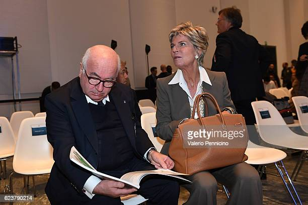 president of Italian Football Federation Carlo Tavecchio and FIFA Council member Evelina Christillin attend the unveiling of the 'Bilancio Integrato...