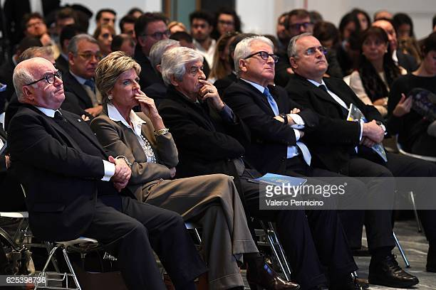 president of Italian Football Federation Carlo Tavecchio FIFA Council member Evelina Christillin former footballer Gianni Rivera guest SS Lazio...
