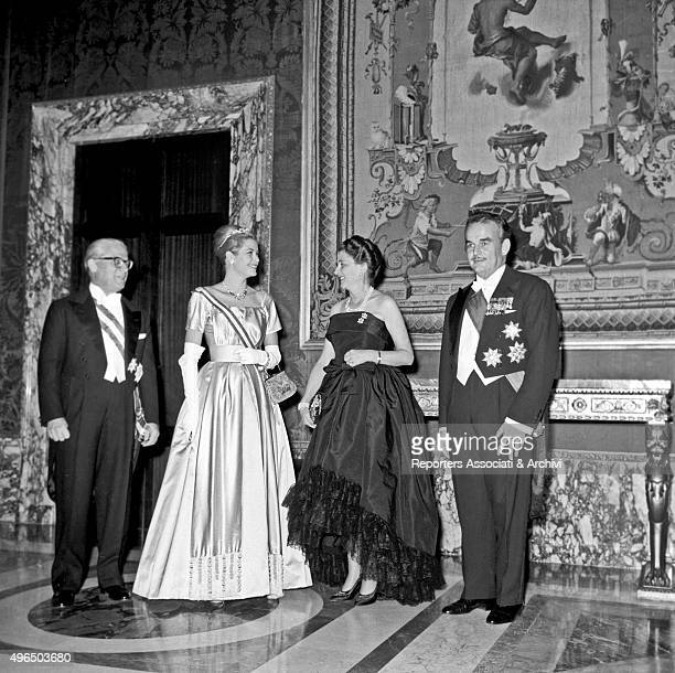 President of Italian Republic Giovanni Gronchi his wife Carla Bissatini Rainier III Prince of Monaco and his wife American actress and princess Grace...