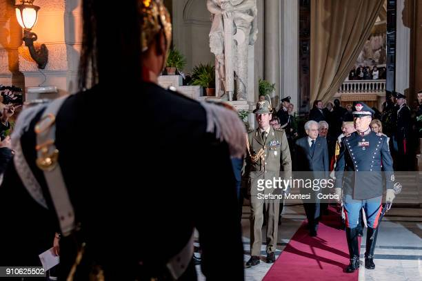 President of Italian Republic Sergio Mattarella leave the courthouse at the end of a ceremony to ceremony for the opening General Assembly of the...