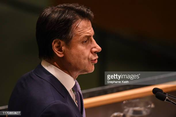 President of Italy Giuseppe Conte speaks at the United Nations General Assembly at the United Nations on September 24, 2019 in New York City. The...