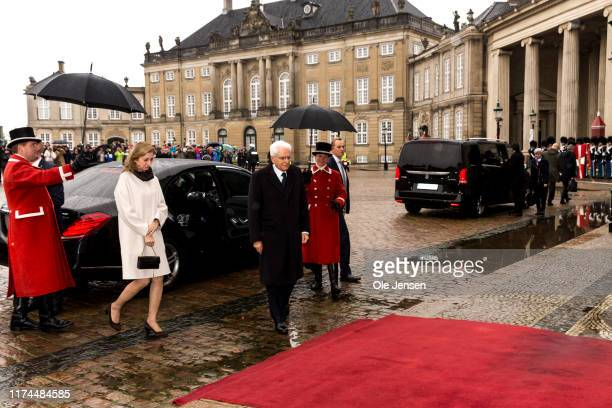 President of Italy Sergio Mattarella and his daughter Laura Mattarella arrive at Amalienborg Royal Palace where they will be received by Queen...