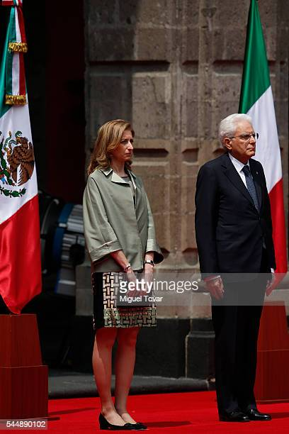 President of Italy Sergio Mattarella and his daughter Laura Mattarella look on during an official visit at Palacio Nacional on July 04, 2016 in...