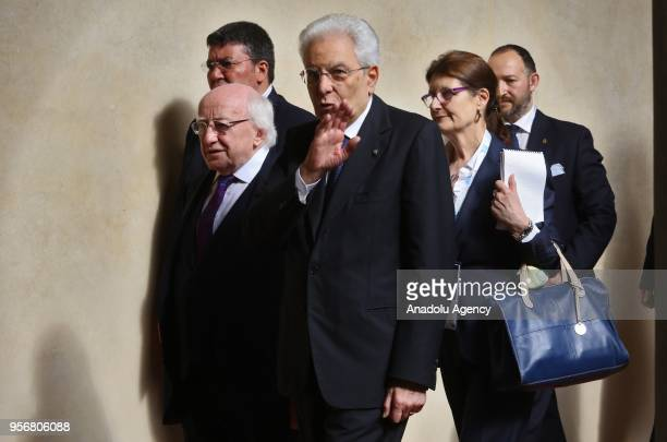 President of Italy Sergio Mattarella and President of Ireland Michael DHiggins arrive to attend the 2018 State of the Union programme at European...