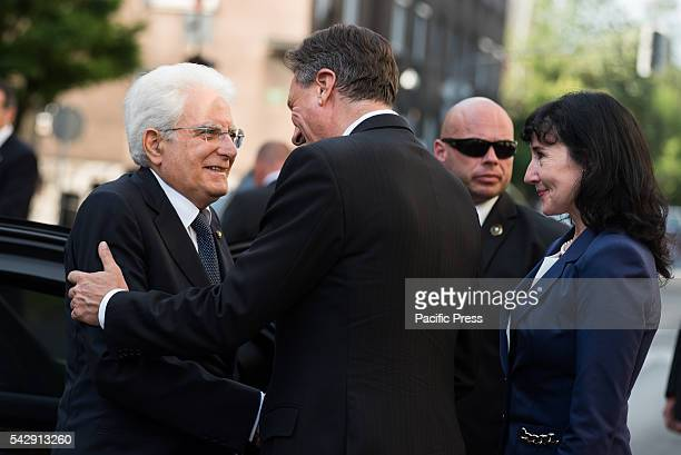 President of Italy Sergio Mattarella greeted by President of the Republic of Slovenia Borut Pahor and his wife Tanja Pecar during the ceremony for 25...