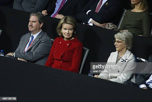 President of ITF David Haggerty Queen Mathilde of Belgium and The Duchess of Gloucester attend the victory of Andy Murray of Great Britain over David...