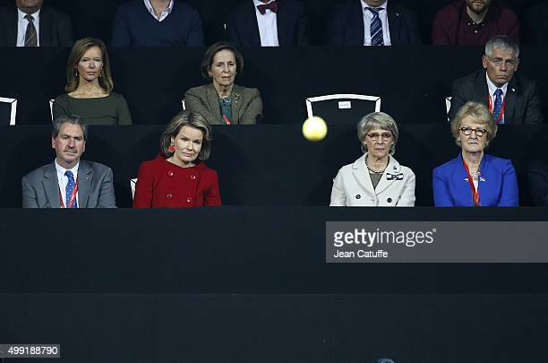 President of ITF David Haggerty Queen Mathilde of Belgium The Duchess of Gloucester and President of LTA Cathie Sabin attend the victory of Andy...