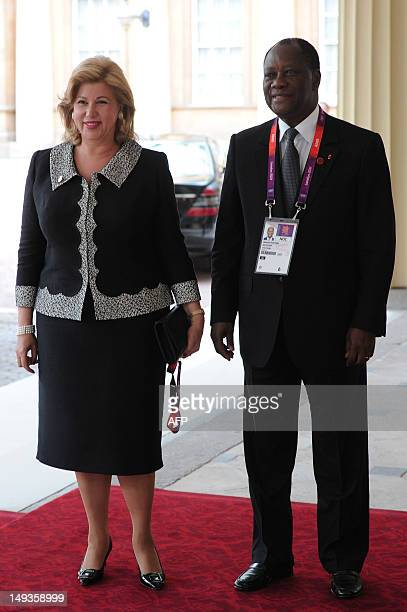 President of Ivory Coast Alassane Ouattara and his wife, Dominique Folloroux-Ouattara arrive for a London 2012 Olympic Games reception, hosted by...
