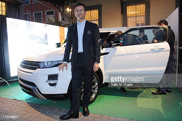 President of JaguarLand Rover Italy Daniele Maver attends the Benedict Radcliffe wireframe design installation inspired by Range Rover Evoque at the...