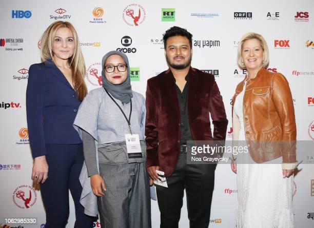 President of JCS International Michal Grayevsky YCA Winners Puti Puar and Raj Dutta and Her Excellency Lorena Castillo De Varela First Lady of the...