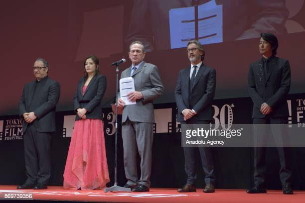 President of Jury Tommy Lee Jones speaks during the closing ceremony of the 30th Tokyo International Film Festival 2017 on November 032017 in Tokyo...