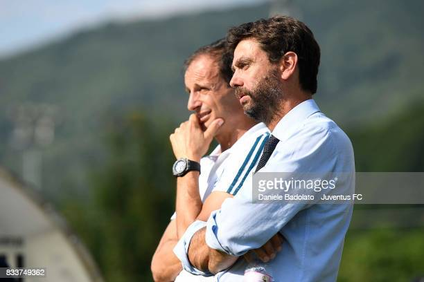 President of Juvents Andrea Agnelli and head coach of Juventus Massimiliano Allegri look on during the preseason friendly match between Juventus A...