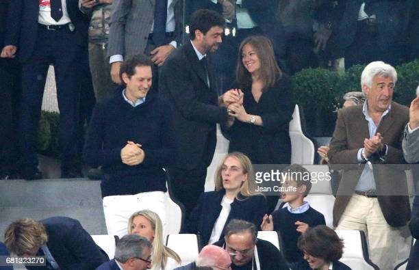 President of Juventus Andrea Agnelli and Deniz Akalin below Chairman of Fiat John Elkann and his wife Lavinia Borromeo during the UEFA Champions...