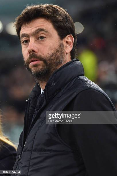 President of Juventus Andrea Agnelli looks during the Serie A match between Juventus and Cagliari on November 3, 2018 in Turin, Italy.